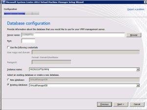System Center VMM 2012 - Database