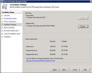 DPM Install Settings