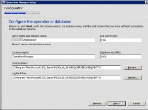System Center Operations Manager 2012 - Ops Database