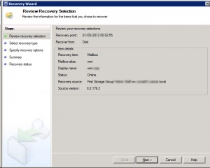 System Center Data Protection Manager 2012 - Review Recovery Selection