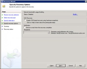 System Center Data Protection Manager 2012 - Specify Recovery Options