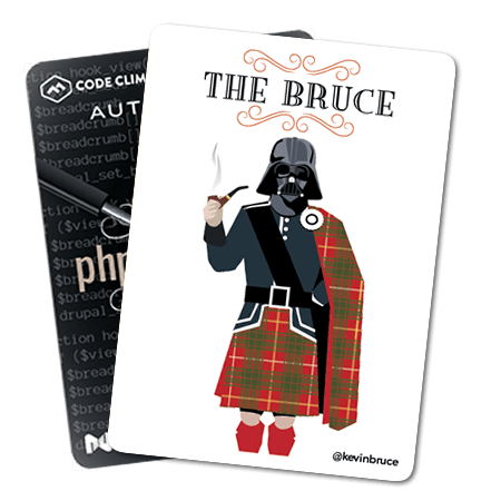 """Image of playing cards used at php[tek]. This one shows """"The Bruce"""" card with an illustration of a man wearing a kilt and a Darth Vader helmet, smoking a pipe."""