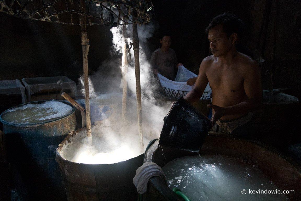 Making tofu, Indonesia.