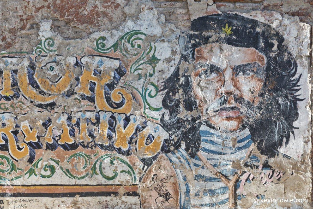 Street art La Boca. Che Guevara meets Diego Maradona.