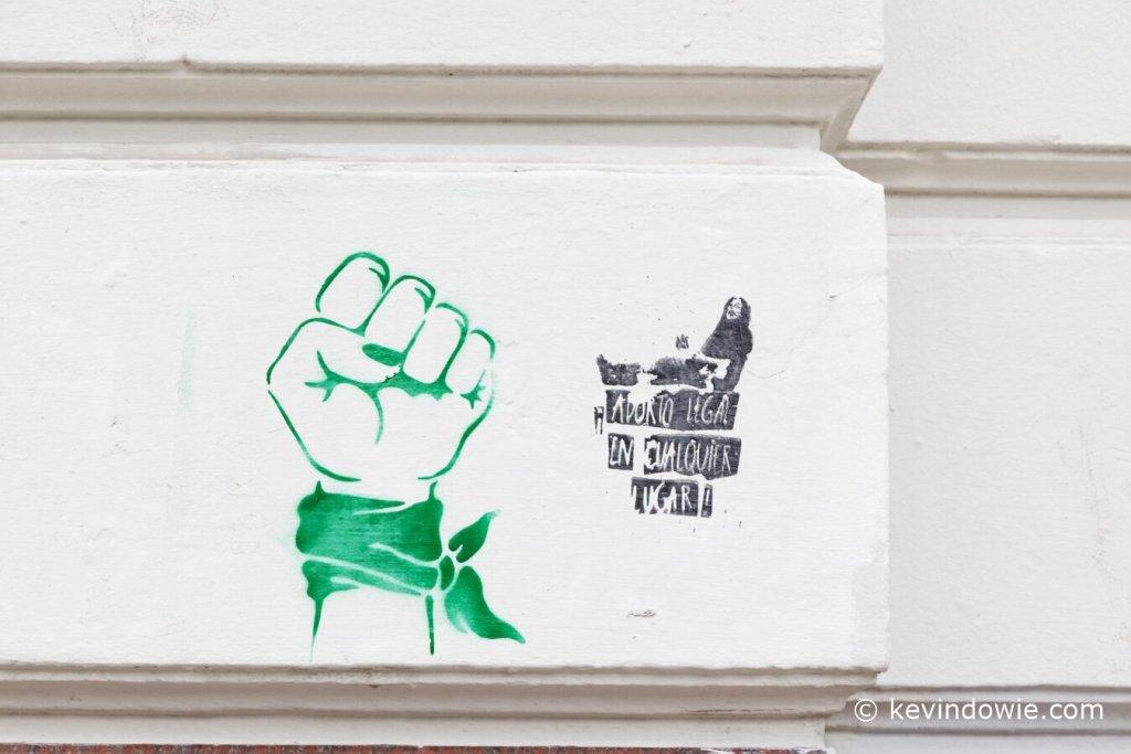 green scarf graffiti Buenos Aires
