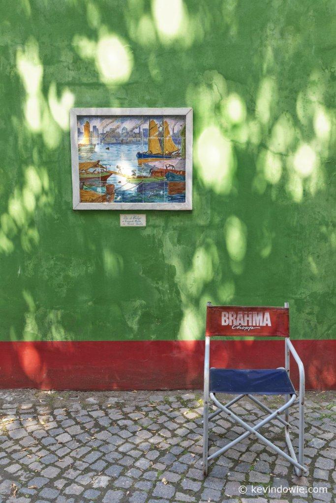 Dappled light on green wall, La Boca.