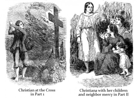 Pilgrims Progress Christian at the Cross Christiana Mercy and Children