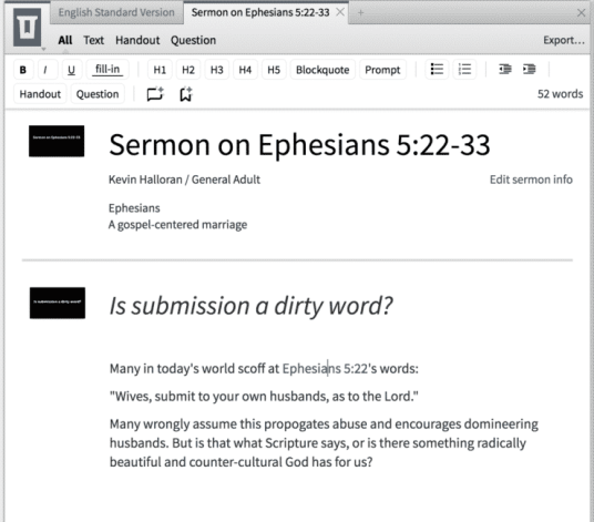 Logos Bible Software 7 Sermon Editor Screenshot