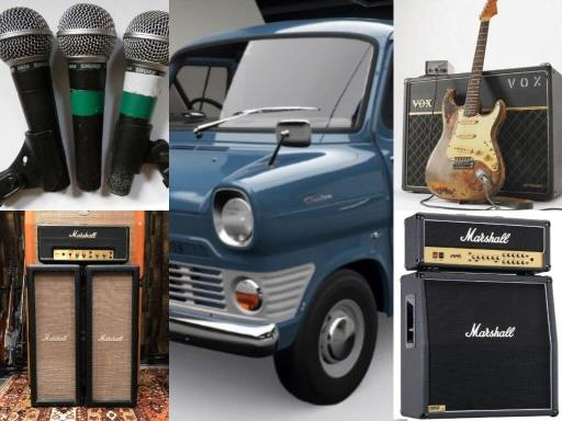 1970s iconic live music gear: Shure SM58, Marshall amp, Vox amp, Fender Stratocaster and a Ford Transi Van/