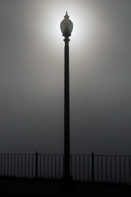 Lamp post in Alms Park on a foggy day