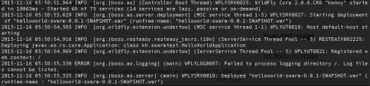 WildFly Swarm microservice development: JAX-RS app deployed