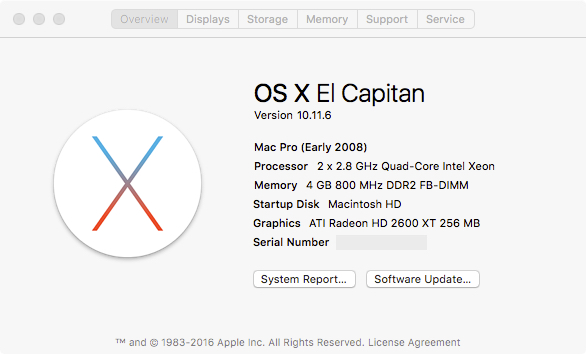 Installing El Capitan on my 2008 Mac Pro – Kev's Development
