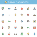 37 Cool Free Summer Flat Line Icons