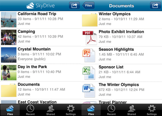 Skydrive for IOS
