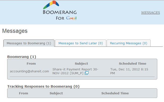 Boomerang Gmail Dashboard