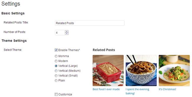 WordPress Related Posts Settings