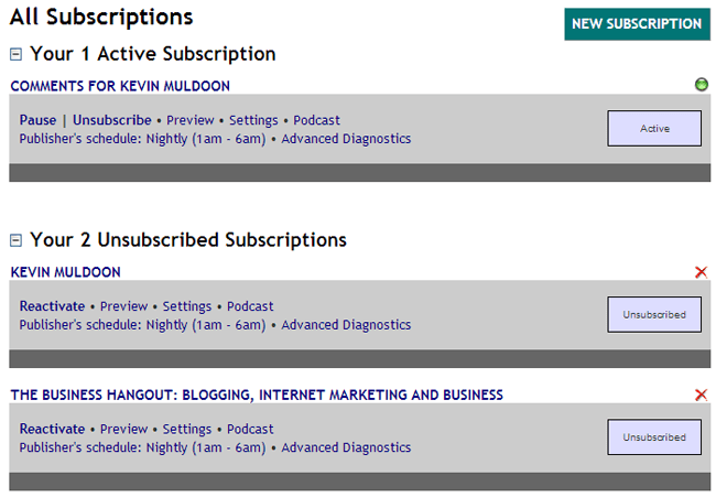 Manage Your Subscriptions