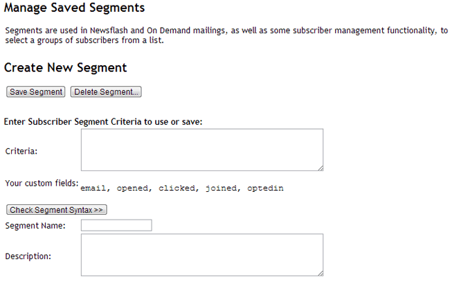Manage Saved Segments