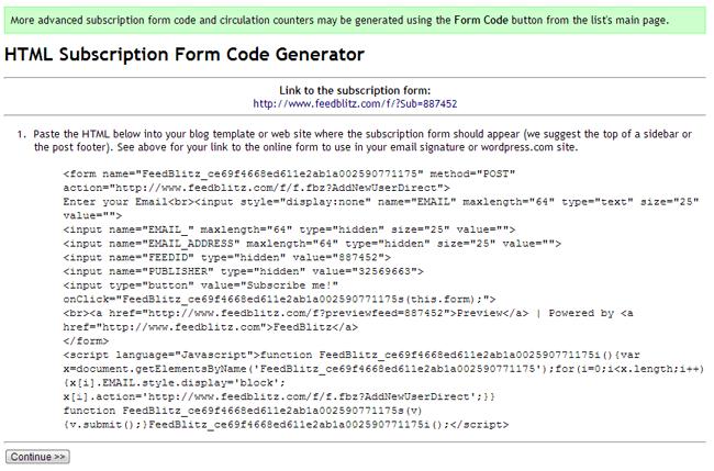 HTML Subscription Form Code Generator