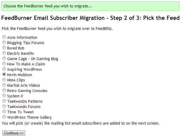 FeedBurner Email Subscriber Migration