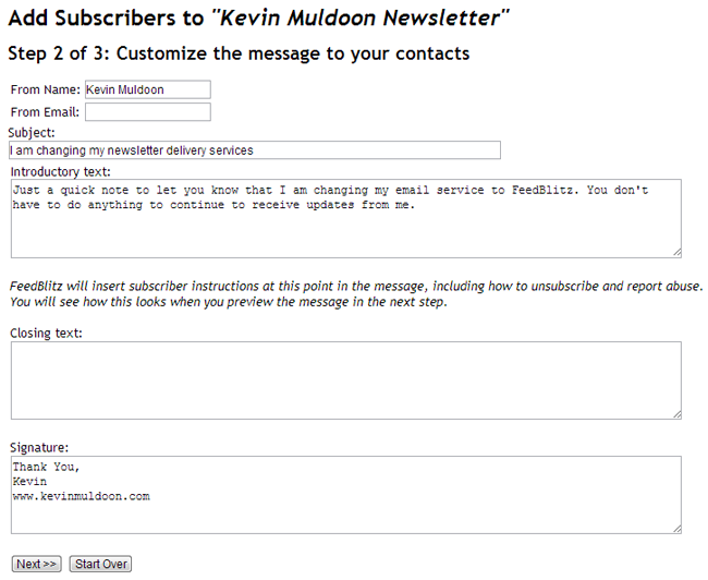 Customised Email for Subscribers