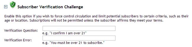 Subscriber Verification Challenge