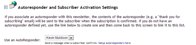 Auto Responder and Subscriber Activation Settings