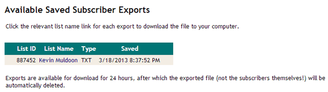 Saved Subscriber Exports