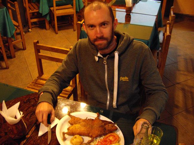 Eating Cuy in Cusco