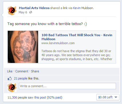 Bad Tattoo Post on Martial Arts Videos Fan Page