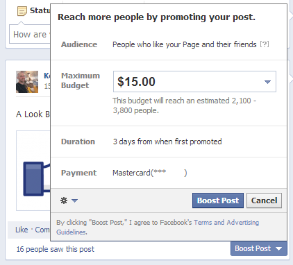 Facebook Promotion Duration