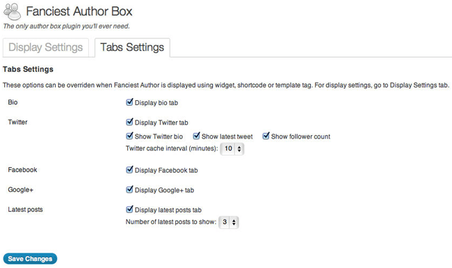 Fanciest Author Box Tab Settings