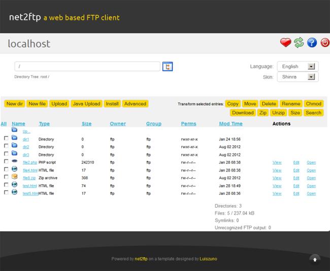 net2ftp FTP Client