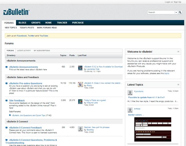 vBulletin Forum Layout