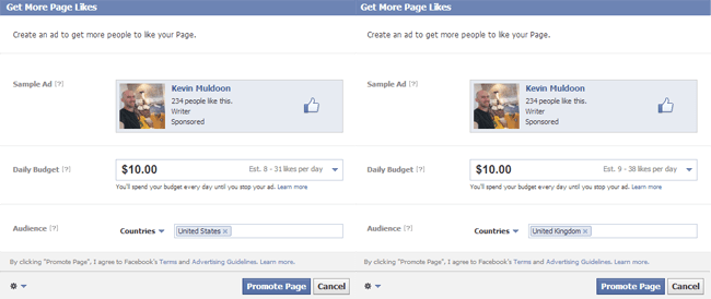 Facebook Page Promotion in Native English Speaking Countries