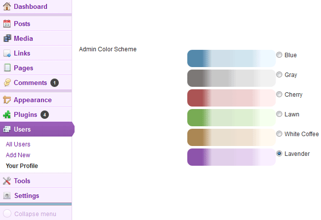 BAW Better Admin Color Themes