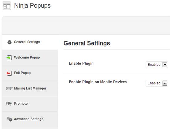 Ninja Popups General Settings