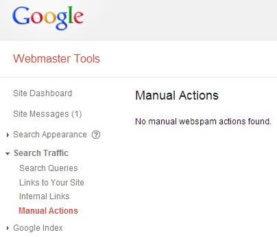 No manual webspam actions found