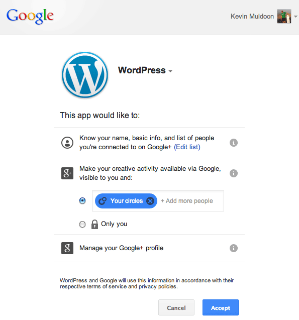 WordPress App Requires Authorisation