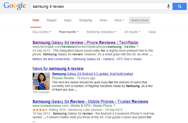 Samsung S4 Review Search engine Results