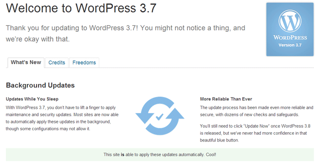 WordPress 3.7 Updated