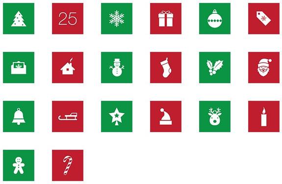 Flat Christmas Icon Set