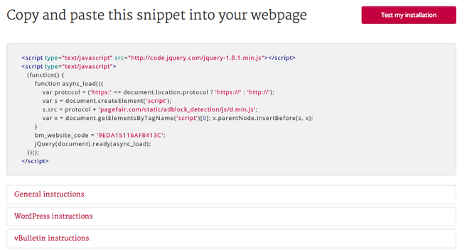 PageFair Installation Instructions