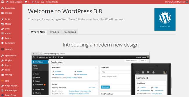 WordPress 3.8 Admin Home