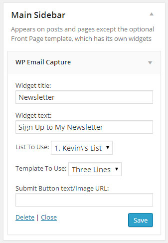 Sign Up Form Widget
