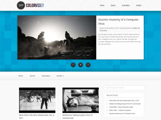 WP Color Video WordPress Theme