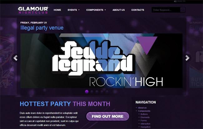 Glamour Nightclub WordPress Theme