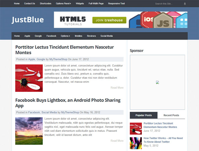 JustBlue WordPress Theme