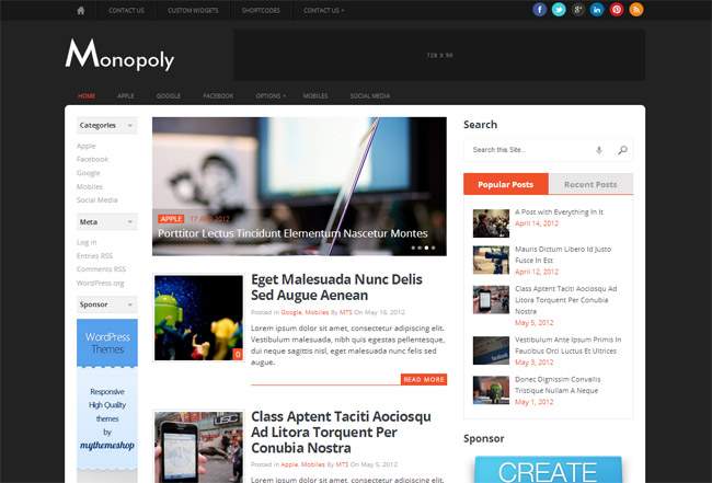 Monopoly WordPress Theme