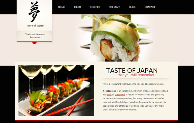 Taste of Japan WordPress Theme